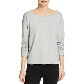 Splendid Womens Sweatshirt Heathered Criss-Cross Back