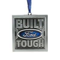 """3"""" Officially Licensed """"Built Ford Tough"""" Brushed Nickel Plated Christmas Tree Ornament - Silver"""