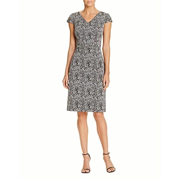Betsey Johnson Abstract Print Sheath Dress Silver 10 Free