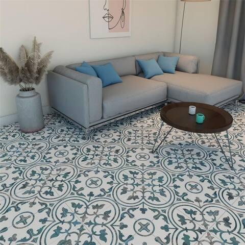 "SomerTile Cassis Arte Blue 9-3/4"" x 9-3/4"" Porcelain Floor and Wall Tile - Case 16 tiles"