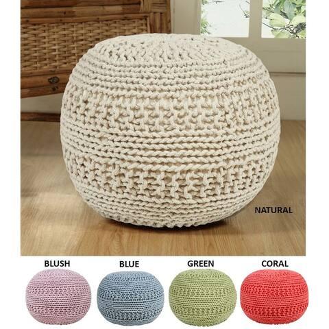 AANNY Designs Grammercy Cotton Knit Round Pouf Ottoman