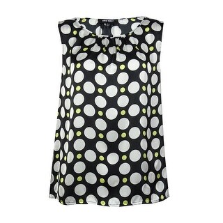 Nine West Women's Polka Dot Blouse - lemon/ivory multi