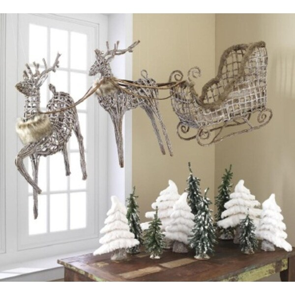 Set of 3 Eco Country Natural Wicker Reindeer & Sleigh Christmas Figures 84""