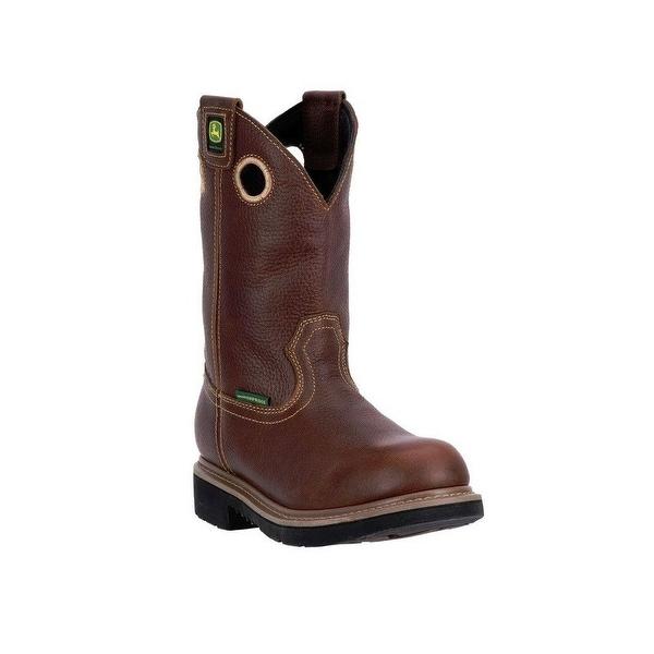 """John Deere Western Boots Mens 11"""" Waterproof Pull On Brown"""