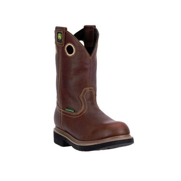 """John Deere Western Boots Mens 11"""" Waterproof ST EH Welt Brown"""
