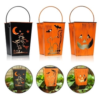 Kanstar Decorative Lanterns with Flameless Led Candle, Witch, Cat, Pumpkin Patterns for Halloween and Indoor&Outdoor Use