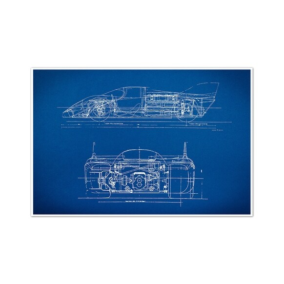 Sports Car 1 Gearhead Blueprints Matte Poster 24x16