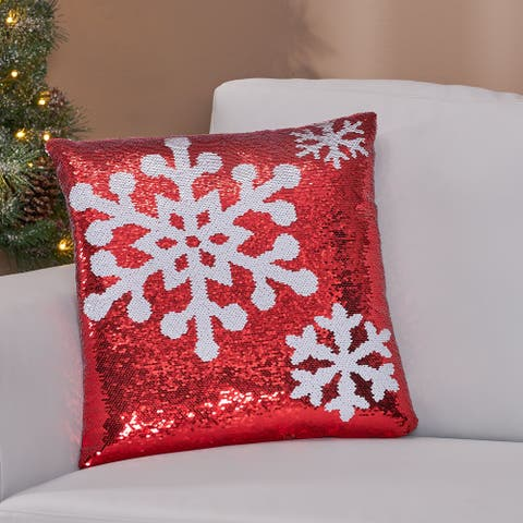 Desota Glam Sequin Christmas Throw Pillow by Christopher Knight Home