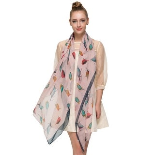 Elegant Women Bird Print Soft Long Scarf Wrap Shawl - 69 inches x 35 inches