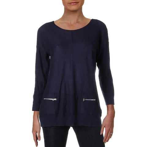 Magaschoni Womens Sweater Ribbed Crewneck - Midnight - L