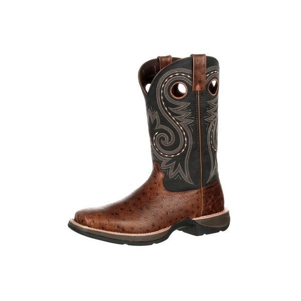 Durango Western Boots Mens Ostrich Embossed Pull On Brown