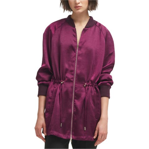 DKNY Womens Long Drawstring Bomber Jacket, purple, Small