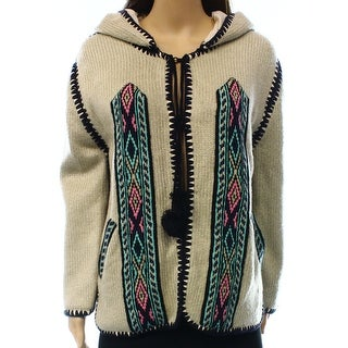 Gypsy NEW Beige Women's Size Small S Stitch Hooded Cardigan Sweater
