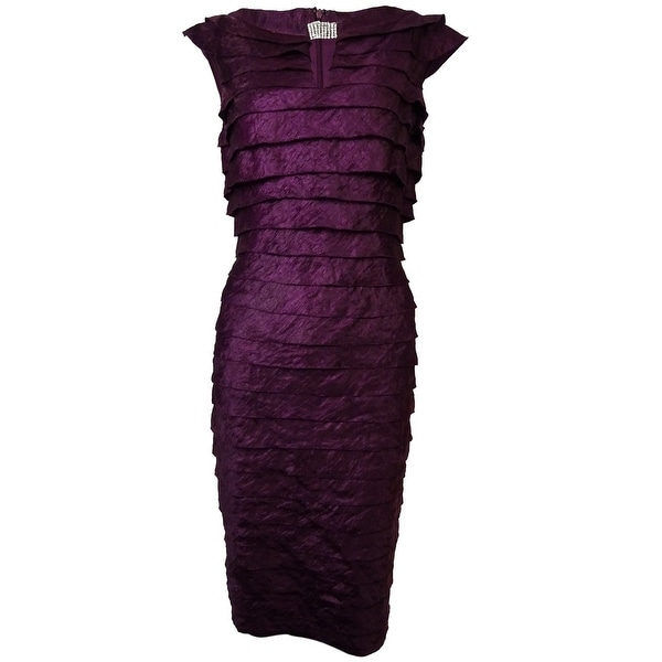 London Times Women's Rhinestone Keyhole Tiered Sheen Dress