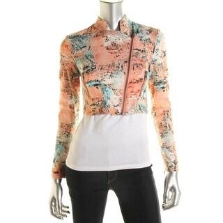 Catherine Malandrino Womens Twill Printed Cropped Jacket - 2