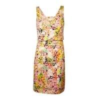Jessica Simpson Women's Printed Wrap V-Neck Sheath Dress - Print