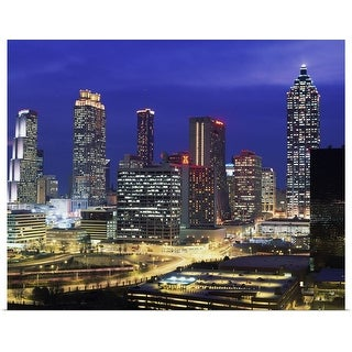 """Georgia, Atlanta, skyline, dusk"" Poster Print"
