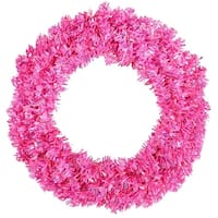 "30"" Pre-Lit Sparkling Pink Wide Cut Artificial Christmas Wreath - Pink Lights"