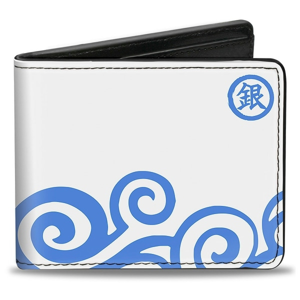 Gintoki Kimono Waves3 Gintoki Kanji White Blue Bi Fold Wallet - One Size Fits most