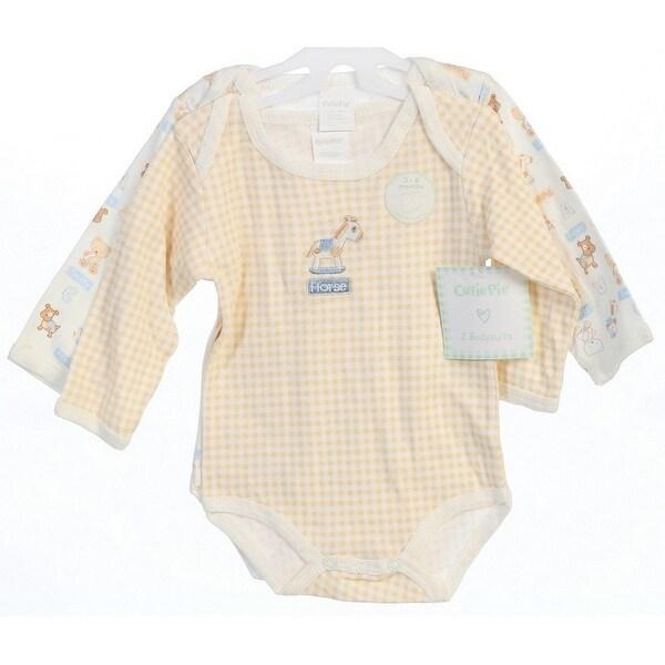 Baby Girls Boys Beige Long Sleeve Cute Animals 2 pcs Bodysuit 0-12M