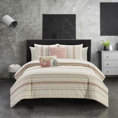 Chic Home Hyde 9 Piece Farmhouse Theme Striped Pattern Bed In A Bag Comforter Set