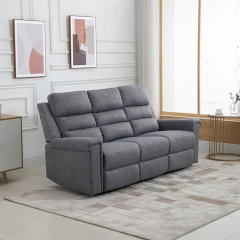 HOMCOM Modern 3 Seater Manual Reclining Sofa Lounger with Easy Pull Handles, and Adjustable Footrest