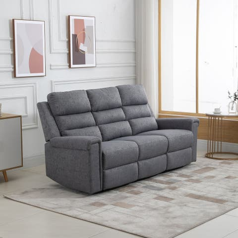 HOMCOM Modern 3 Seater Manual Reclining Sofa Lounger with Easy Pull Handles, and Adjustable Footrest - 80*39.75*36.5