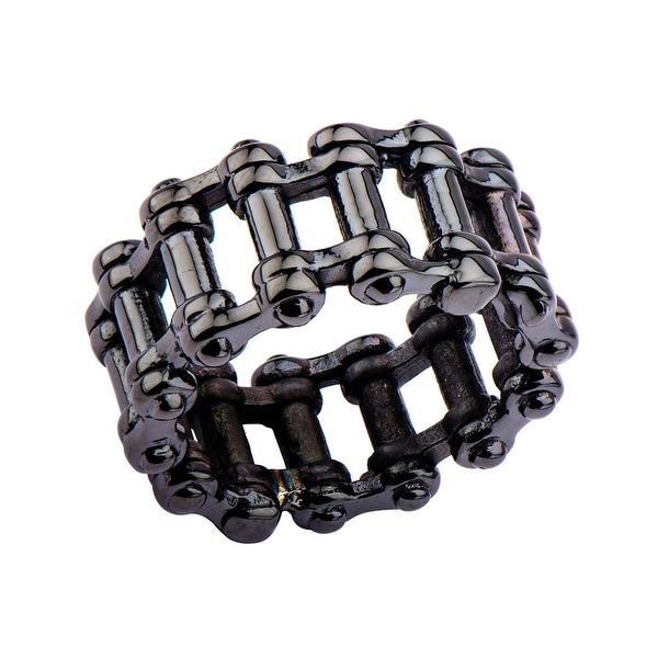 INOX Jewelry Men's Stainles Steel Black IP Motor Chain Design Ring