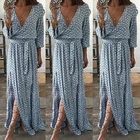 Women Ladies Clothing Floral Print Long Sleeve Boho Dress Lady Summer Deep V Neck Party Long Maxi Dress Women - Blue