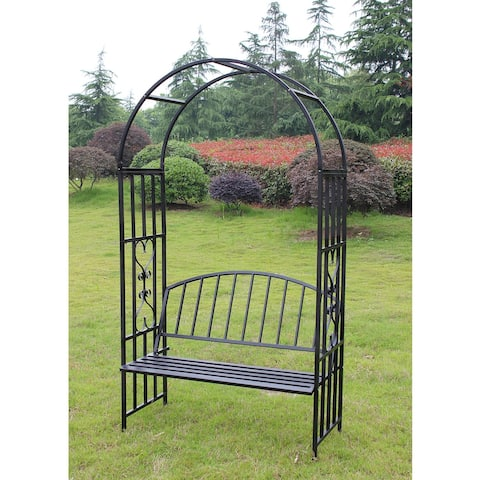 Kinbor Outdoor Metal Garden Arch With Seat Bench Arch Garden Arbour For Climbing Plant