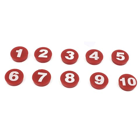 10 Pcs Arabic Number Blackboard Whiteboard Fridge Refrigerator Magnets - Red