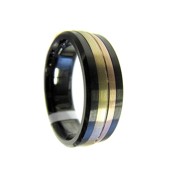 Black Cobalt Ring with Brushed 14k Yellow-Rose Gold Grooved Center by Crown Ring - 7.5mm