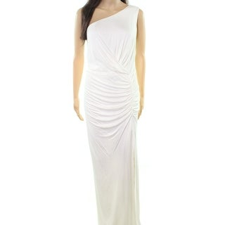 ABS White Ivory Womens Size 1X Plus Ruched Stretch-Knit Gown