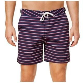 Tommy Hilfiger Navy Blue Red Mens Large L Stripe Stretch Swim Trunks