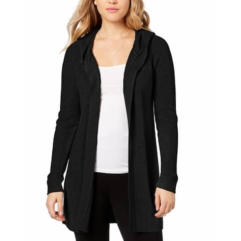 Kensie Women's Black Size Small S Open Front Hooded Cardigan Sweater