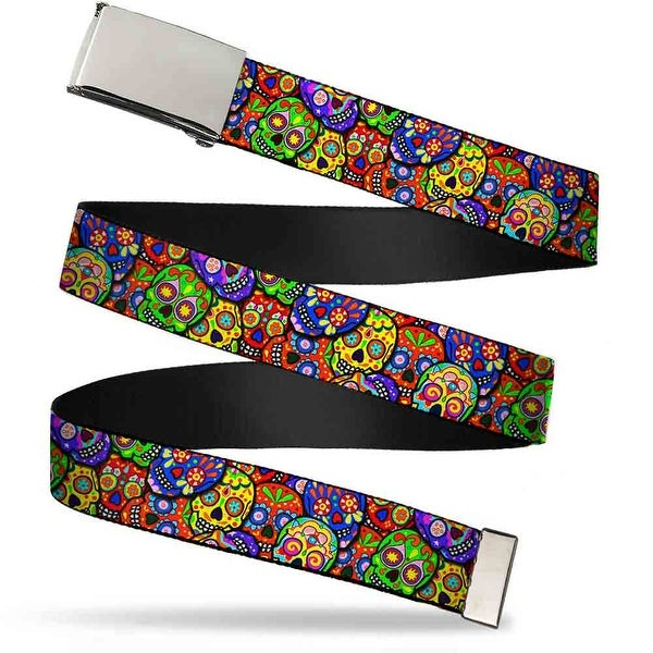 Blank Chrome Buckle Colorful Calaveras Stacked Multi Color Webbing Web Web Belt