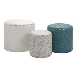 Set of 3 Contemporary Gray, White and Teal Leather-Look Ostrich Pattern Ottoman Footstools - Blue