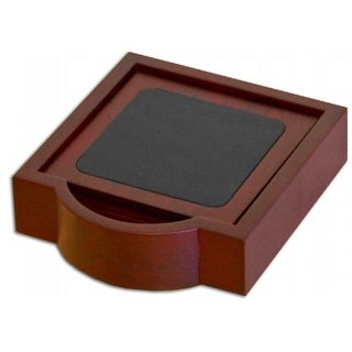 Dacasso A8045 Wood & Leather 4 Square Coaster Set with Holder