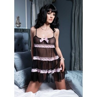 Leg Avenue Chiffon Tiered Baby Doll with Contrast Lace Trim - Multi