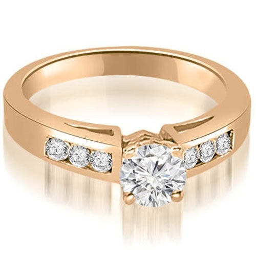 0.95 cttw. 14K Rose Gold Channel Set Round Cut Diamond Engagement Ring