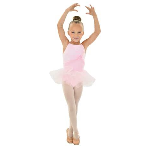 Little Girls Pink White Lace Detail Bow Mesh Tutu HEIDI Dancewear Dress