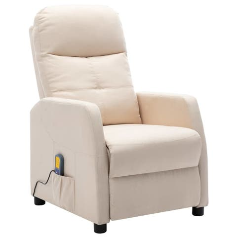 vidaXL Massage Recliner Cream Fabric