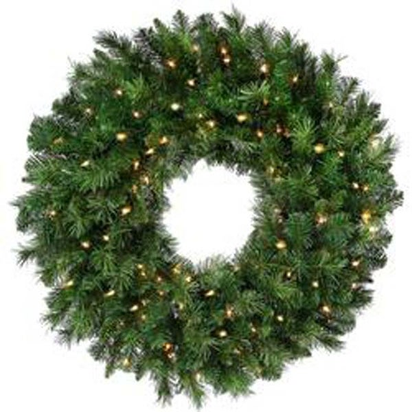 "- Pre-Lit New Zealand Pine Wreath 30"" 240 Tips; 100 Lights"