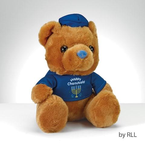 "6"" Brown and Blue ""Happy Chanukah"" Hanukkah Teddy Bear with T-Shirt - N/A"