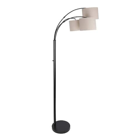 """84"""" Metal Floor Lamp with Three Lights, Arched Design, and Linen Drum Shades"""