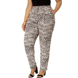 Calvin Klein Womens Plus Pants Leopard Print Satin - 3x