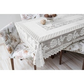Tablecloth Grega Design Brazilian Lace 59x86 Inches White Color 100 Percent Polyester