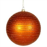 4.75 in. Burnt Orange Glitter Striped Shatterproof Christmas Ball