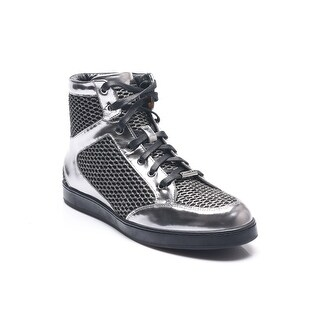 Jimmy Choo Women's Tokyo Metallic Mesh High Top Sneakers Black Silver