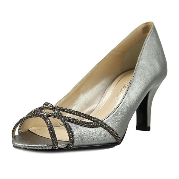 Caparros Eliza Women Open-Toe Leather Silver Heels